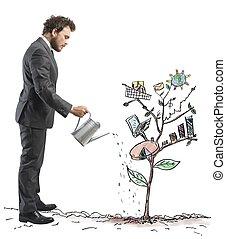 成長する, 会社