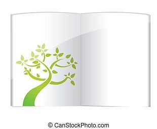 成長する, 植物, 本, 開いた