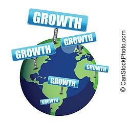 成長, イラスト, 地球, デザイン