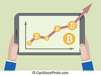 成長, タブレット, bitcoin