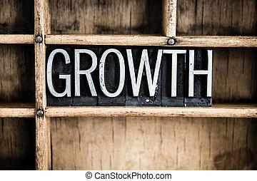 成長, 概念, 金屬, letterpress, 詞, 在, 抽屜