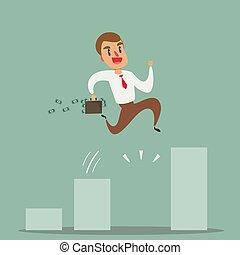 成長, concept., ビジネス, chart., ジャンプ, ビジネスマン, 上に, 成長する