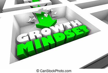 成長, mindset, 増加, 成功, 迷路, 矢, 3d, イラスト