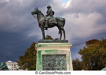 我們, 天空, 小山, 有暴風雨, 華盛頓特區, 雕像, 州議會大廈, 應承, 紀念館