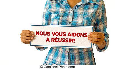 我們, 幫助, 成功,  french), 你,  (in