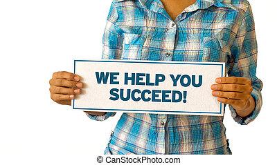 我們, 成功, 幫助, 你