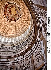 我們, burundi, apothesis, 華盛頓;喬治, 繪, dc, 雕像, 林肯, 州議會大廈, 裡面, 圓形建築, 圓屋頂, 1865, constantino