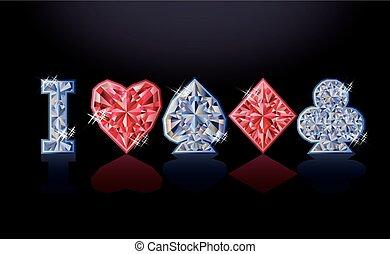 我, 爱, 扑克牌, 钻石, 旗帜, 矢量