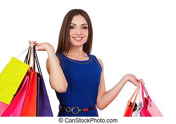 我, 需要, 一些, 零售, therapy., 有吸引力, 少女, 握住, 购物袋, 同时,, 微笑, 在照相机