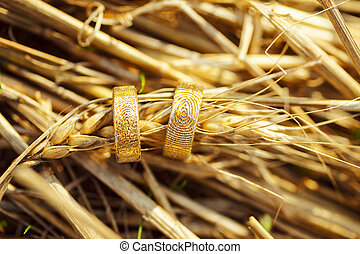 戒指, 小麥, spikelets, 婚禮