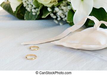戒指, 白色的毛巾, 被隔离, 婚禮