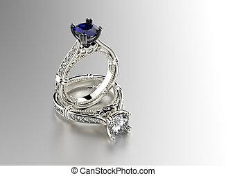 戒指, 約會, 蘭寶石