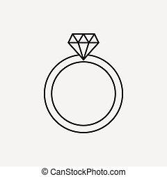 戒指, 鑽石, 線, 圖象