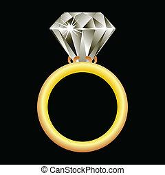 戒指, 鑽石, 黑色, 針對