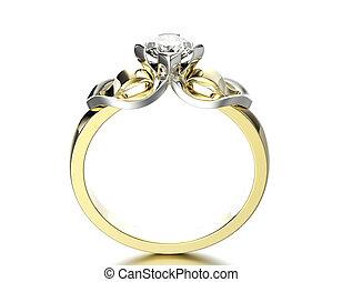 戒指, diamond., 約會, 珠寶, 背景