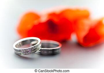 戒指, tullips, 婚禮
