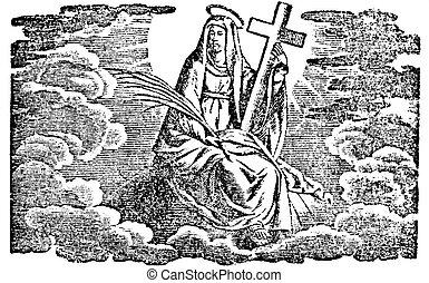 或者, 神圣, 天堂, 雕刻, 藏品, 宗教, 寓言, 圖畫, mary, 聖徒, 新, 古董, testament., 葡萄酒, 處女, 婦女, 聖經, 圣經, cross.