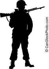 战士, 主题, soldier., ww2