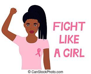 戦い, のように, 旗, 女の子, 認識, 胸, アメリカ人, 国民, month., 上げられた, fist., ...