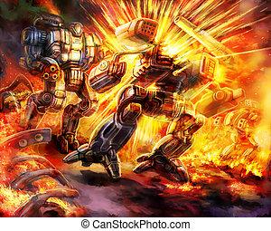 戦い, ロボット, 戦闘