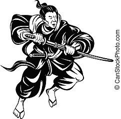 戦い, 戦士, ∥あるいは∥, 木版, 黒, 白, bushi, katana, samurai の 剣, レトロ