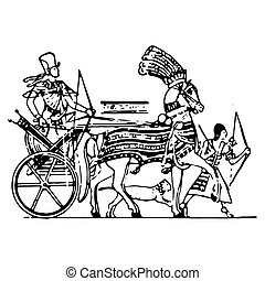 戦争, 型, エジプト人, 二輪戦車, 彫版