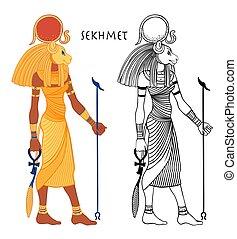 戦争, 太陽, 治癒, mythology., ベクトル, 太陽, 頭, disk., sekhmet, 女神, ...