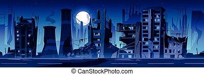 戦争, 捨てられた, 破壊しなさい, 都市, night., 建物