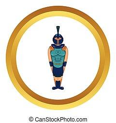 戦士, エジプト人, ベクトル, 古代, アイコン