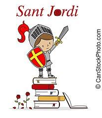 戦士, カタロニア, 本, 祝祭, sant, 上, spain., jordi, 伝統的である