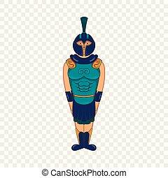 戦士, スタイル, 古代, エジプト人, アイコン, 漫画