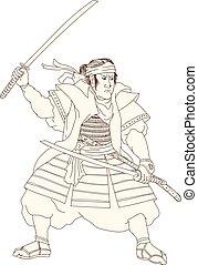 戦士, スタンス, katana, woodblock, 侍, 戦い