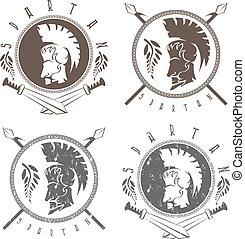 戦士, セット, 保護, 型, spartan, ラベル, ベクトル, やり