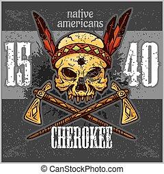 戦士, ベクトル, illustration., 頭骨, headwear., 羽, ペンキ, アメリカインディアン,...