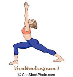 戦士, ヨガ, pose., virabhadrasana, 1, silhouette., 女性