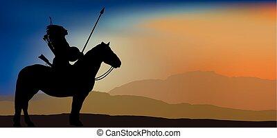 戦士, 勇士, indian, 山