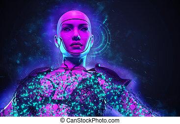 戦士, 想像, ロボット, 女性