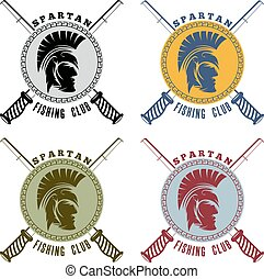 戦士, 頭, クラブ, spartan, ラベル, 釣り
