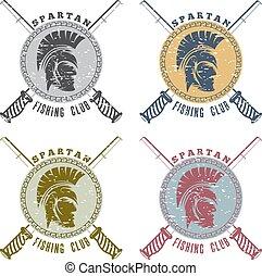 戦士, 頭, グランジ, クラブ, spartan, ラベル, 釣り