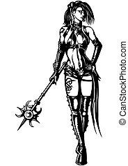 戦士, 魔法使い, 女, 魔法の 細い棒