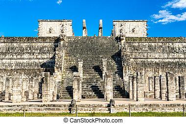 戦士, chichen, 寺院, itza, メキシコ\