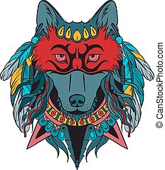 戦士, indian, 狼