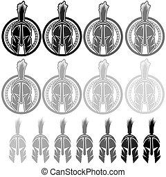 戦士, spartan, セット, 保護