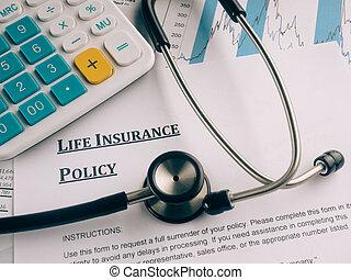 戦略, 生活, desk., 保険