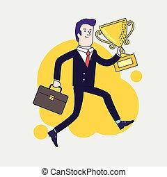 戰利品, 套間, 風格, 插圖, 事務, 杯子, 概念, 胜利者, 慶祝, 矢量, 藏品, 商人, 跑, 成就