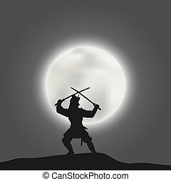 戰士, 黑色半面畫像, 日語, 月亮, 武士, 背景