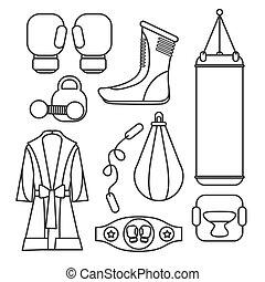 戰斗, 以及, 拳擊, equipment., 拳擊手套, 矢量, illustration., 拳擊, 體操,...