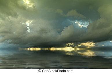 戲劇性的天空, 在, 傍晚