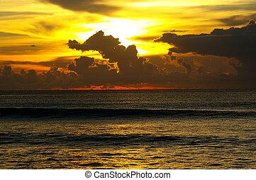 戲劇性, 傍晚天空, 以及, 海洋