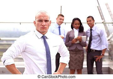 户外, 团体, 商务人士, 年轻, 形成